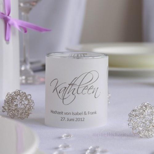 Tischkarte Windlicht Hochzeit Elegance Silber - idea for place name and wedding favour?
