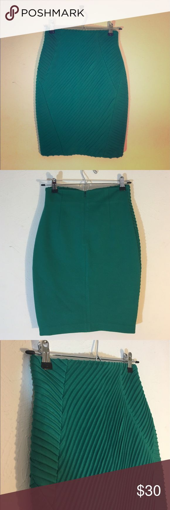 Catherine Malandrino Stretchy Green Pencil Skirt Cute stretchy fitted green pencil skirt with diagonal rubbing. Zipper in the back. Excellent condition, Lightly owned, no stains or damage.  High quality, from Nordstrom. Catherine Malandrino Skirts Pencil