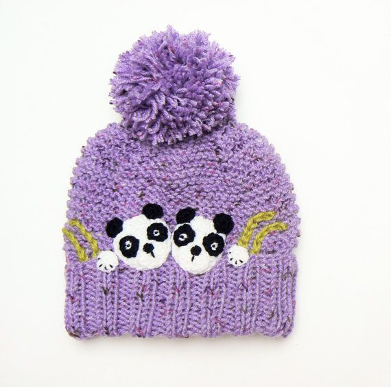 Winter Hat Pom Pom Hat Knit Hat Panda Hat Knitted Beanie by 2mice