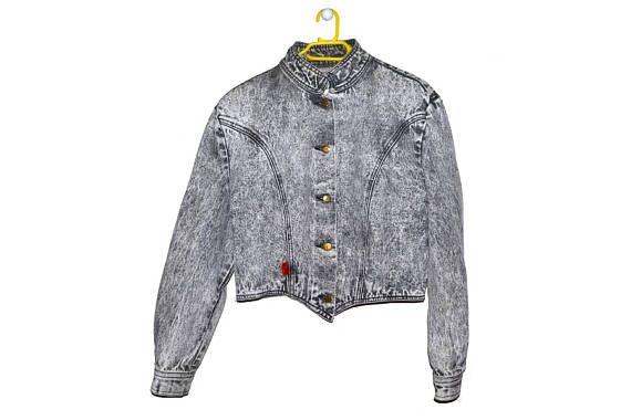 Vintage 80s Black Acid Wash Cropped Denim Jacket Medium Large