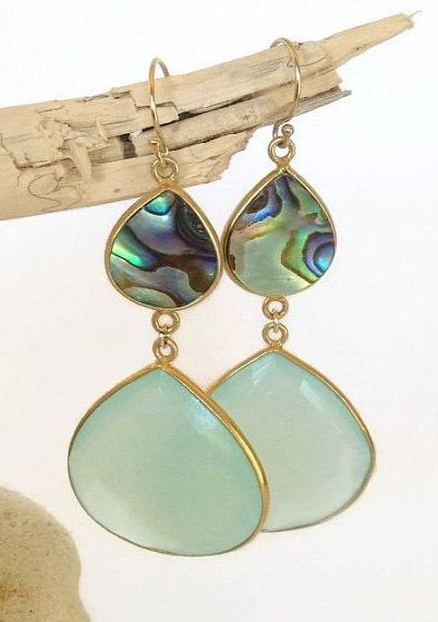 Statement Earrings, abalone shell earrings that my boho styled sister would LOVE!