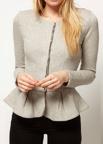 Light Grey Round Neck Long Sleeve Ruffles Crop Coat