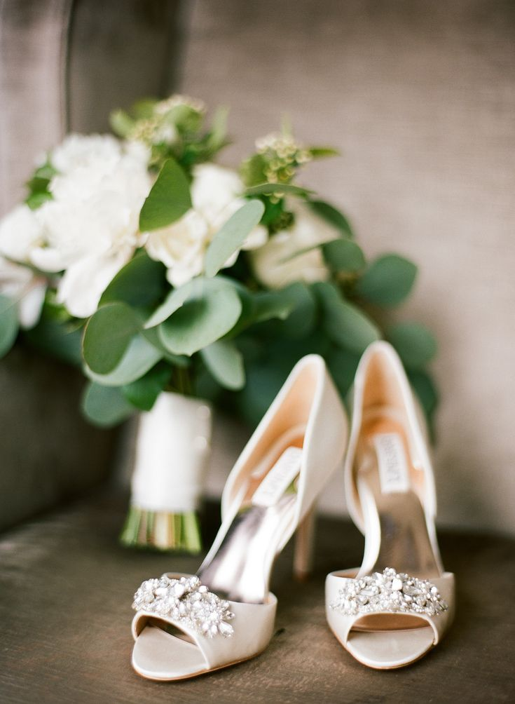 {{Bride's sparkling heels with wedding bouquet of peonies, garden roses and silver dollar eucalyptus.}} Photography by Britta Marie Photography http://brittamariephotography.com/    Flowers by Pollen, pollenfloraldesign.com