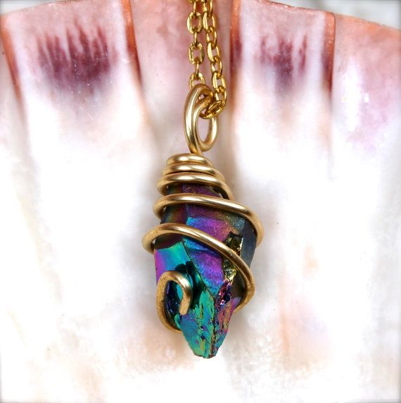 Rainbow Crystal Necklace Hippie Jewelry from Hawaii Wire Wrapped Stone Pendant Gypsy Jewelry Bohemian Necklace Crystal Quartz Boho Jewelry