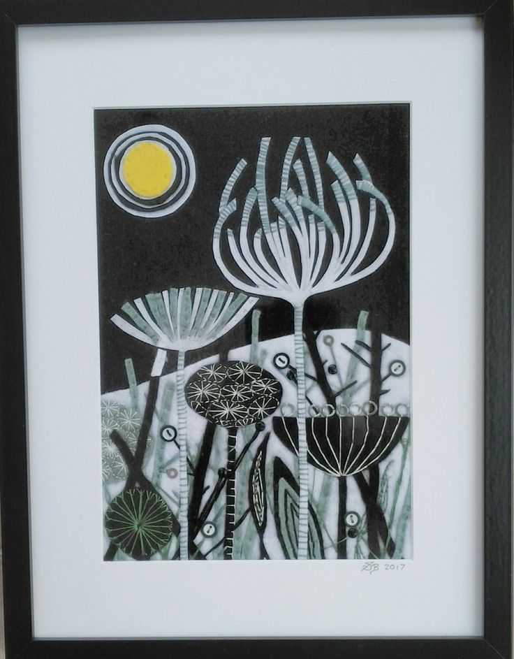 A felt & stitched picture based on a Angie Lewin Moonlight wood engraving.