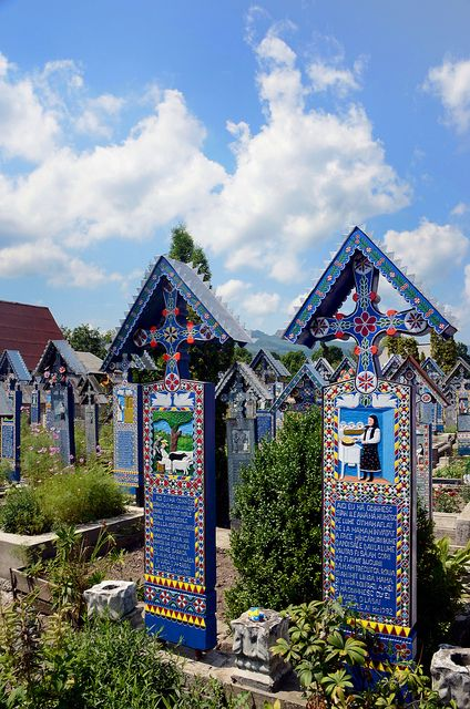 The Merry Cemetery in Sapanta, Maramures, Romania...what a beautiful and respectful way to revere those who have left us.