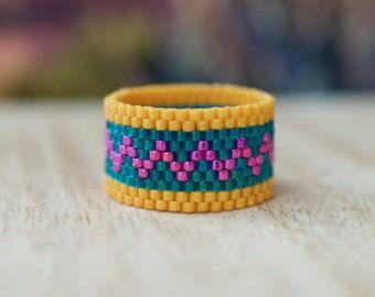 8 Peyote rings patterns Beaded rings por ColorfulBeadPatterns
