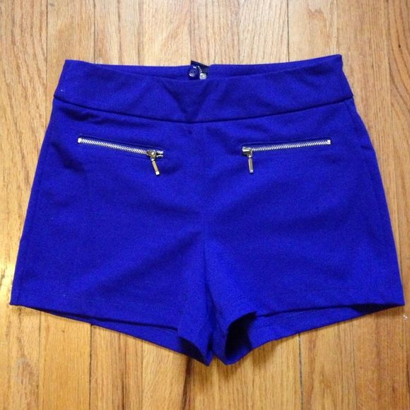 Royal blue forever 21 shorts w. gold zippers  Never worn!!! Super cute high waisted royal blue shorts  Forever 21 Shorts