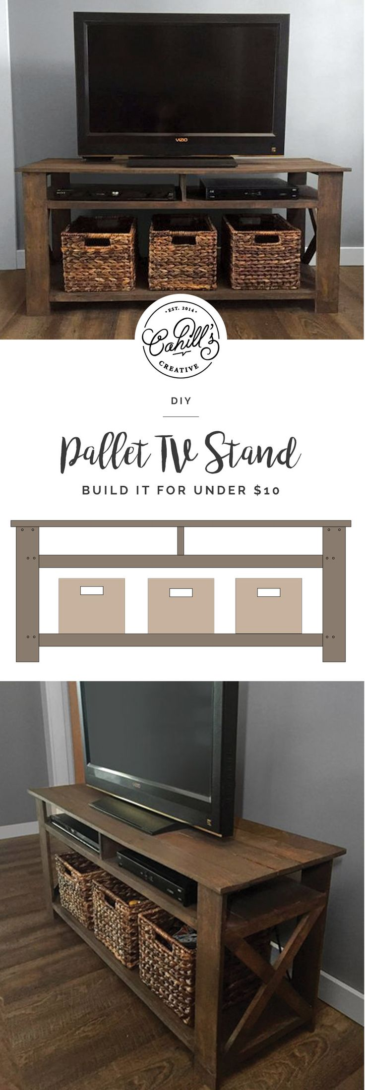 "DIY pallet tv stand! The plans include a material cut list, a list of necessary tools & hardware, assembly directions, and dimensions. The overall dimensions of the tv stand are 45""W x 15""L x 21""H.    DIY, Pallet Tv Stand, Pallet Furniture, Farmhouse Style, DIY Tv Stand"