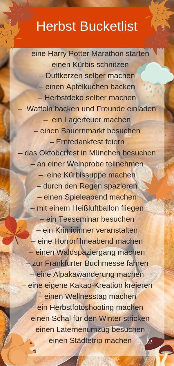 Herbst Bucket List 2019  Ideen & Tipps fu00fcr den perfekten Herbst Es wird ge…