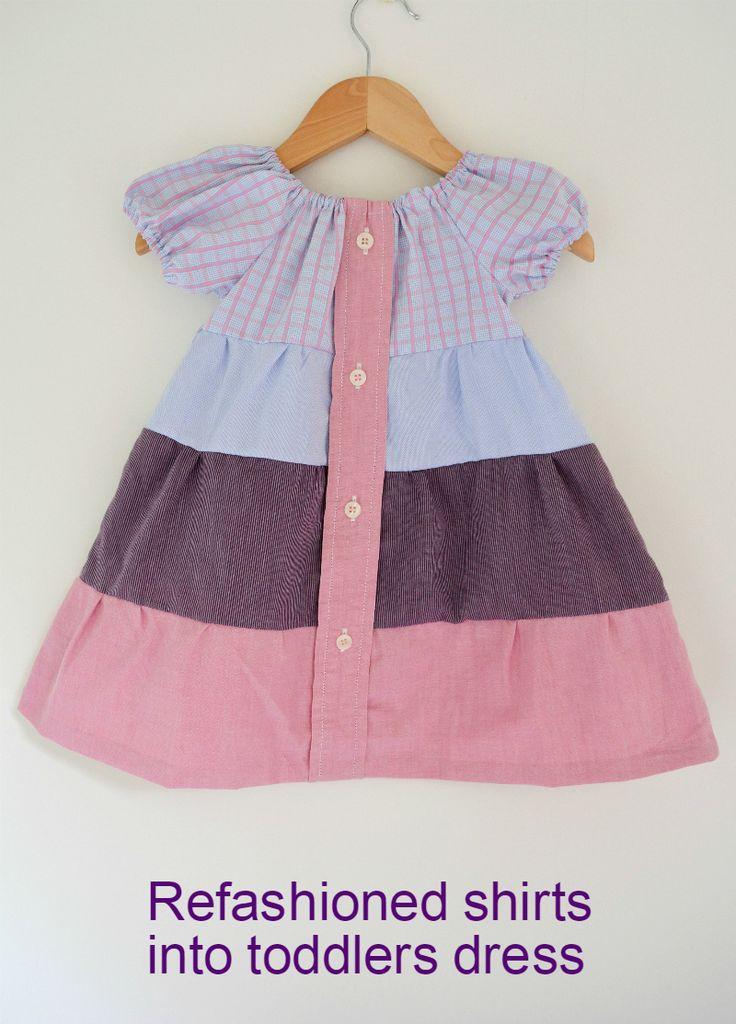 Create a stylish toddler dress usign former shirts