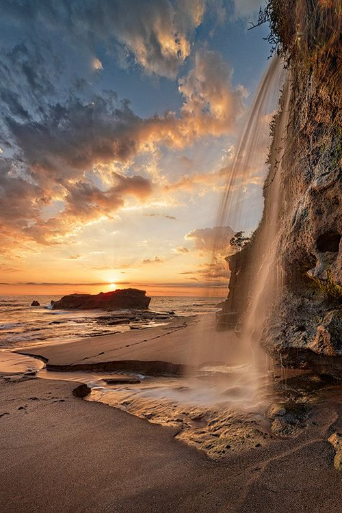Waterfall sunset - Bali, Indonesia (by Jonathan Danker on 500px)