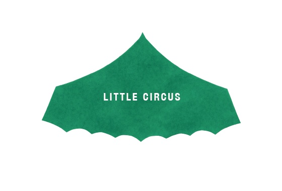 little circus - logo - logo design - branding - logo mark - textures in logo - simple type - circus tent - watercoloresque