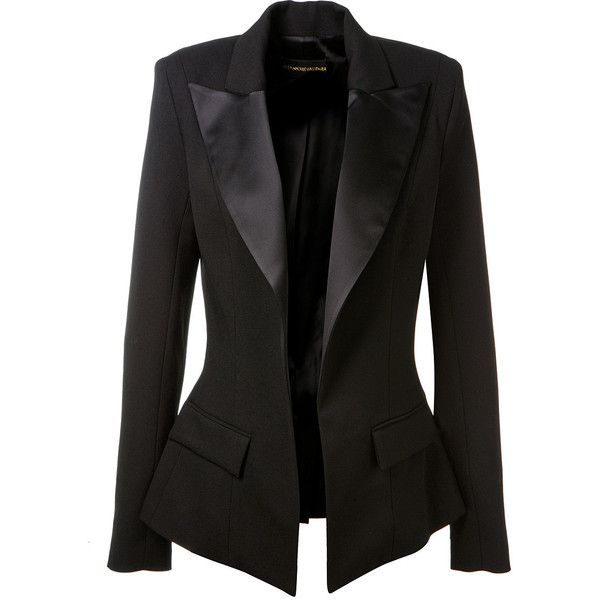 Alexandre Vauthier Satin Finished Black Wool Blazer (€1.755) ❤ liked on Polyvore featuring outerwear, jackets, blazers, coats, alexandre vauthier, black satin jacket, satin jacket, woolen jacket and wool blazer