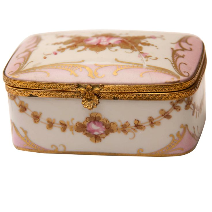 Marie Antionette Style Limoge Box | From a unique collection of antique and modern jewelry boxes at http://www.1stdibs.com/furniture/more-furniture-collectibles/jewelry-boxes/
