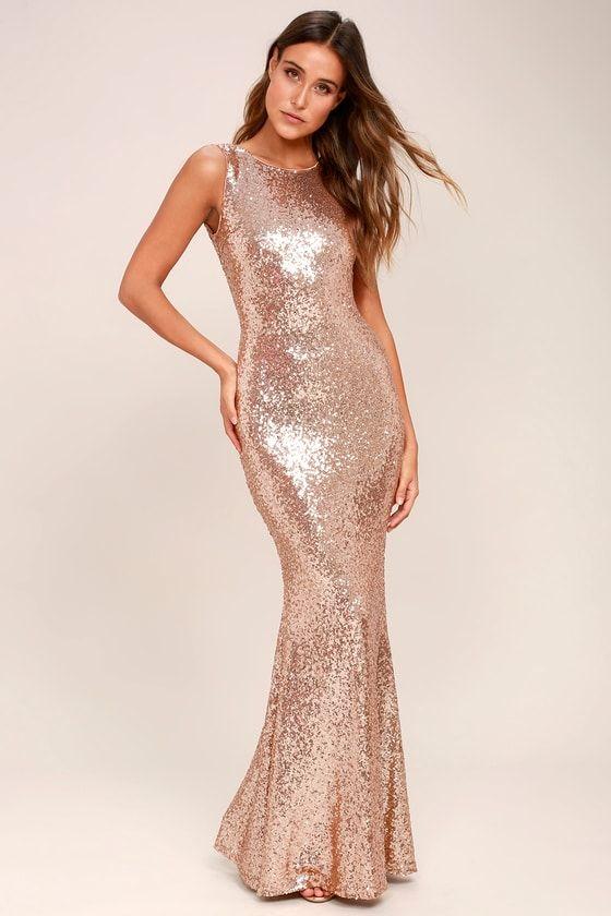 e43be7e9976 Light the Night Rose Gold Sequin Backless Maxi Dress