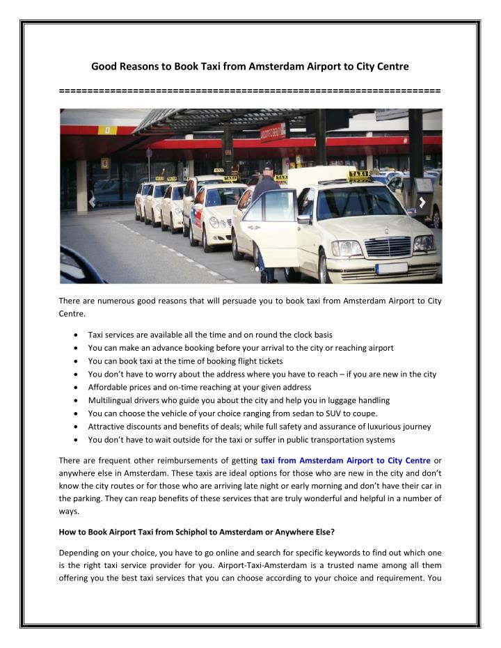 How to Book Airport Taxi from Schiphol to Amsterdam or Anywhere Else?
