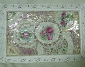 pink roses broken china shabby chic mosaic cottage  large vanity tray or wall hanging