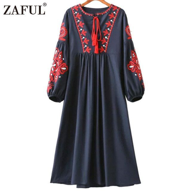 ZAFUL Women vintage floral embroidery dress drawstring tassels Lantern long sleeve Faldas festa casual loose retro dresses