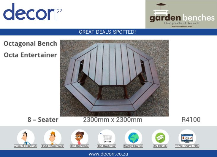 #DecorrOutdoor Great Deals Spotted at http://www.decorr.co.za/benches-select/ #decorrpromo