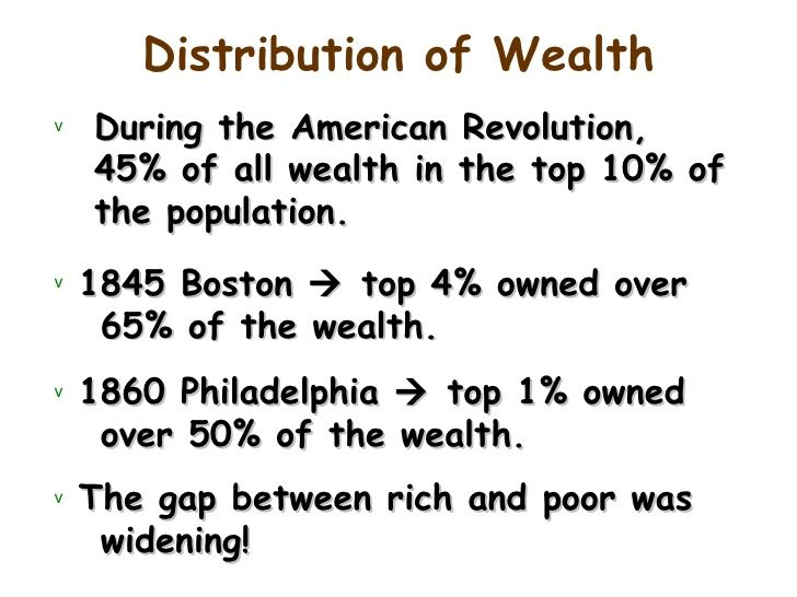 (1820-1860) Wealth Distribution in America