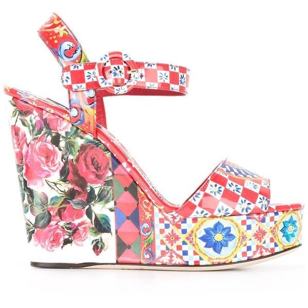 Dolce & Gabbana Bianca wedge sandals ($825) ❤ liked on Polyvore featuring shoes, sandals, red, wedge heel sandals, evening sandals, red wedge sandals, ankle tie wedge sandals and red ankle strap sandals