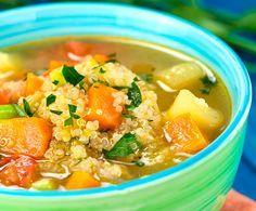 Aprende a preparar una sencilla, sana y nutritiva sopa con quinoa y verduras. Rica, rica :-)
