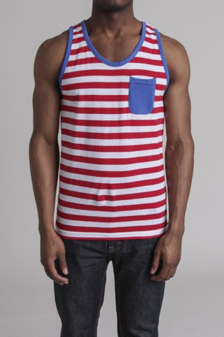 Red stripe summer tank!! My hubby will ( that is if he lets me pic his outfit) wear this for Fourth of July! =)