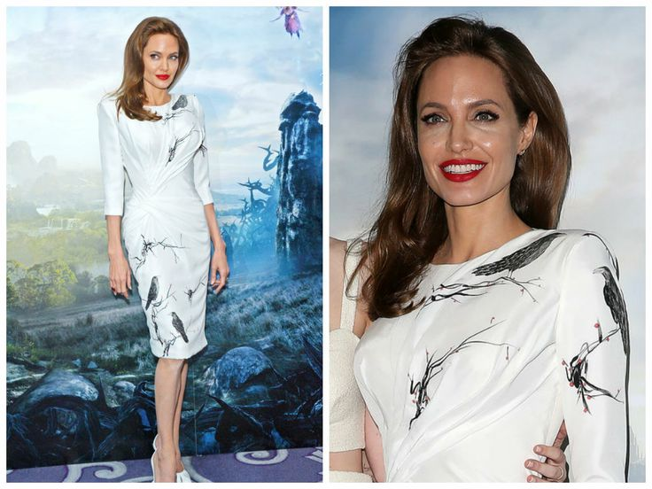 Angelina Jolie stunned at the London premiere of her movie Maleficent. The star wore a fitted knee-length dress by Atelier Versace.