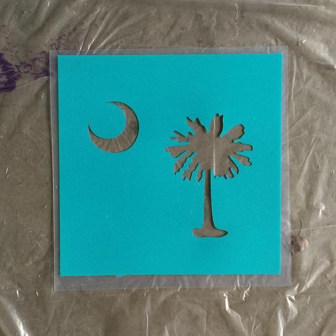 Palmetto Tree and Moon Stencil / South Carolina Flag Stencil - Plastic