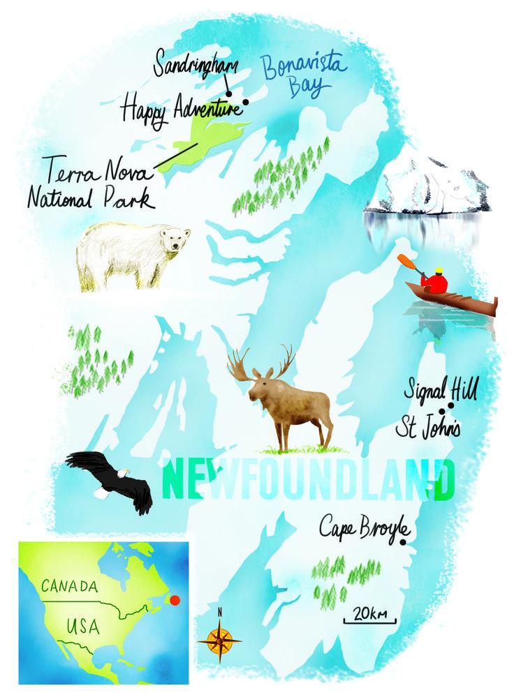 Newfoundland map by Scott Jessop. April 2015 issue