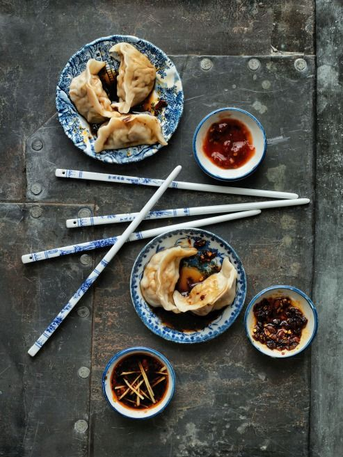 """Asian food styling. Be aware that although it is in this picture, you should never """"cross"""" your chopsticks, as it is a symbol of death in some Asian cultures."""