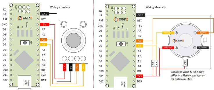 Wiring the MLX90614 Infrared Contactless Temperature Measurement Sensor  on Microcontroller | 14Core.com