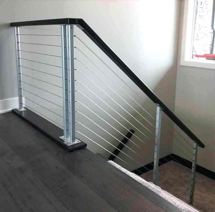 Best Modern Railing Stairway Silver Cable Railings 1 Modern 400 x 300