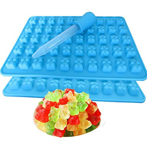 2 Pack 50 Cavity Silicone Gummy Bear Candy Chocolate Mold...