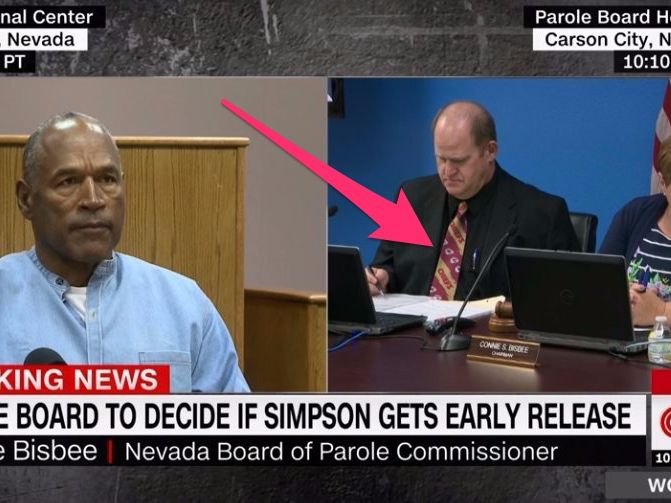 A member of OJ Simpson's parole board wore a Kansas City Chiefs tie to the hearing and Twitter was quick to take notice - On Thursday O.J. Simpsonwas back in court and back on our televisions as his parole hearing was broadcast live across the country.  Interest in the broadcast was initially driven by Simpson's potential early exit from prison afterservingmore than eight years for armed robbery and kidnapping, as well as the American public's seemingly ceaseless capacity for television…