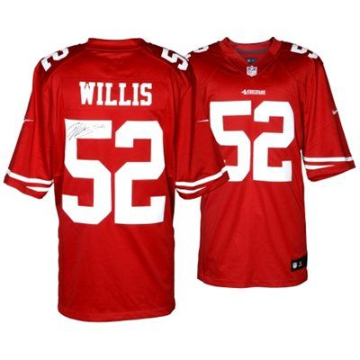 candlestick park patrick willis san francisco 49ers autographed nike limited red jersey