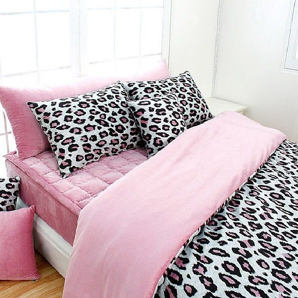 Light Pink & Animal Print Bed Set