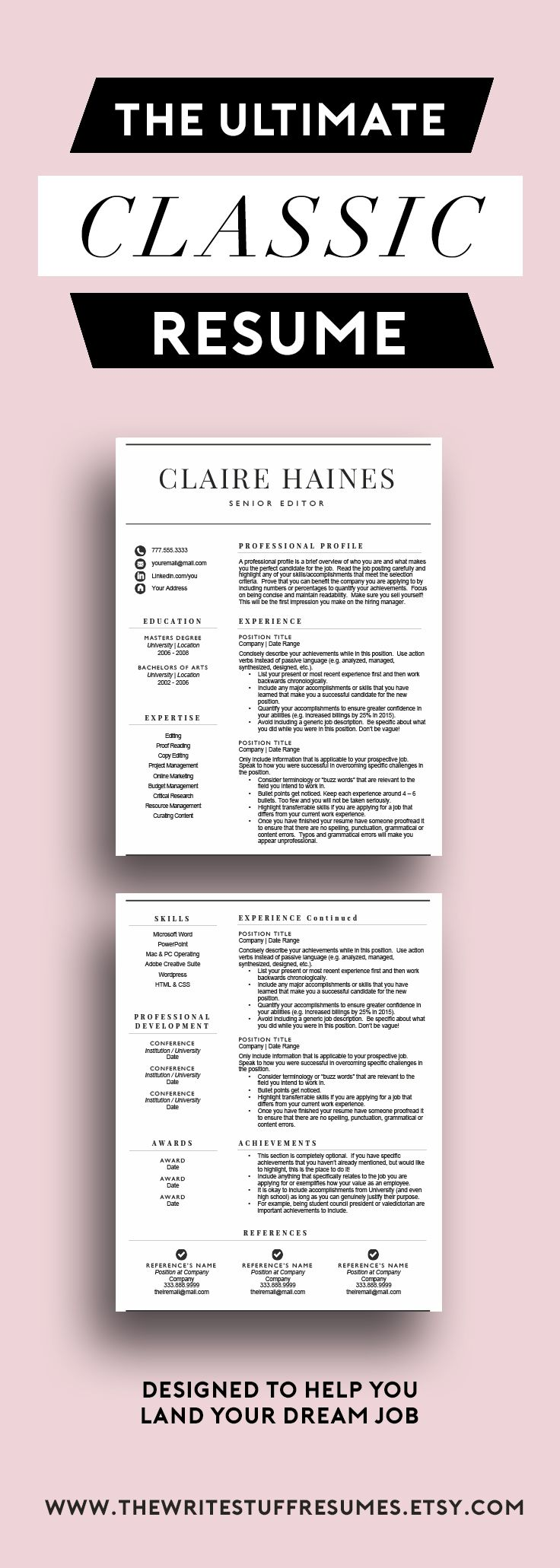 Resume Template for Word (1 & 2 page resume, cover letter
