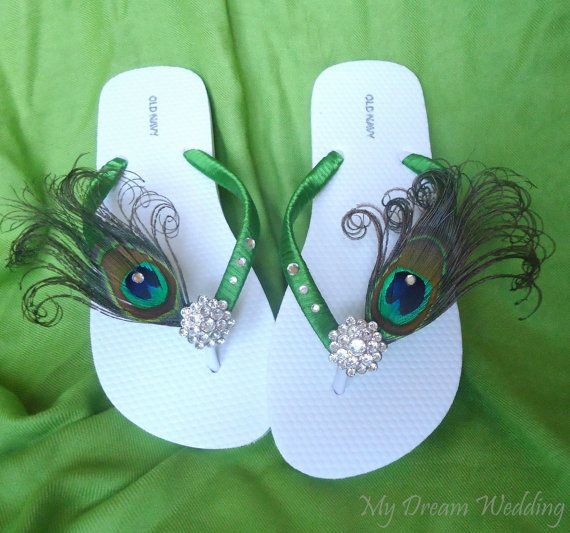Green Peacock Feather Flip flops with Swarovski Crystals ,Emerald green flip flops -TROPICAL WEDDING-