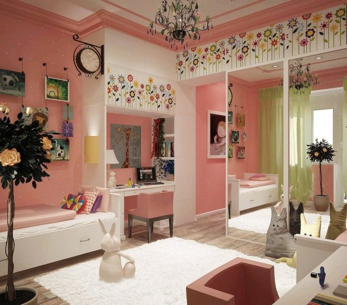 preteen girls bedroom - comes from Russia and definitely has a Russian flare. Love the clock and chandelier.