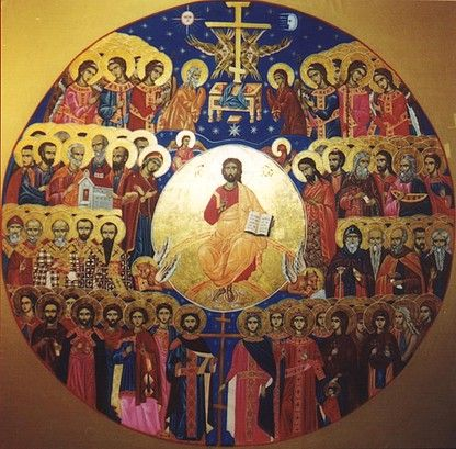 Icon of Jesus Christ Pantocrator [with all saints] painted by Marchela Dimitrova