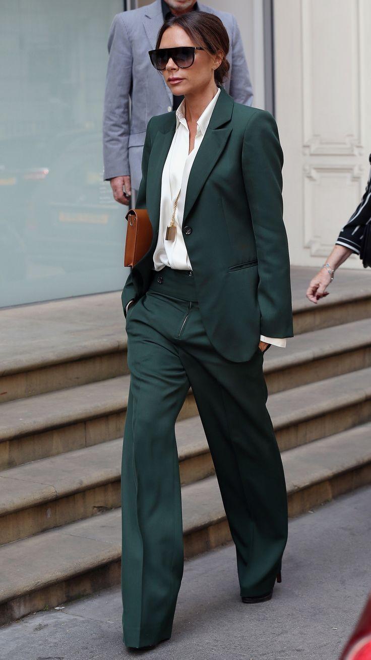 d7f5b45fd69 Victoria Beckham in a dark green suit