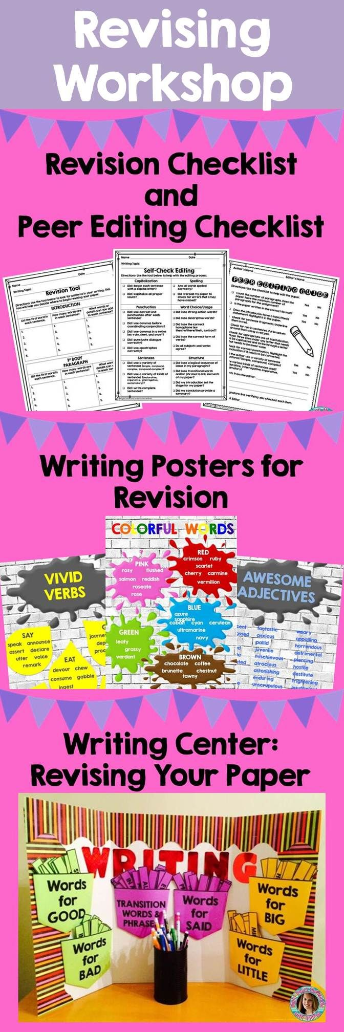 Revising and editing can be a fun, engaging activity with this resource. Editing checklists for self and peer, posters for revision, and materials for a writing center all make this complete. Your students will love it! Right Down the Middle with Andrea