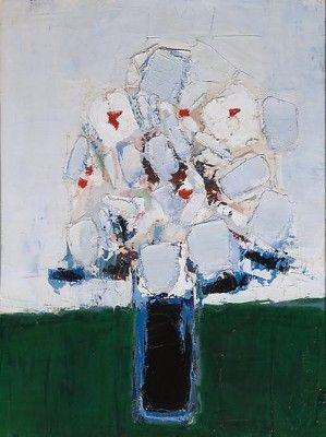 Nicolas de Staël, Fleurs dans un vase bleu, 1953, oil on canvas, 28 3/4 by 21 1/4 in. 73 by 54 cm. Courtesy of Mitchell-Innes & Nash