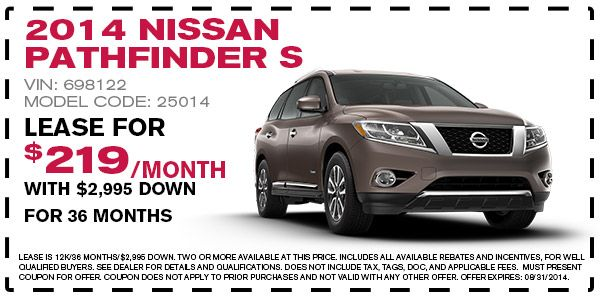 2014 Nissan Pathfinder S Lease Offer - August