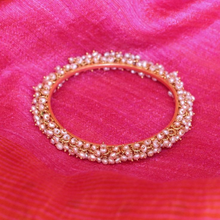 Chandika Temple Jewellery Bangle in Pearls