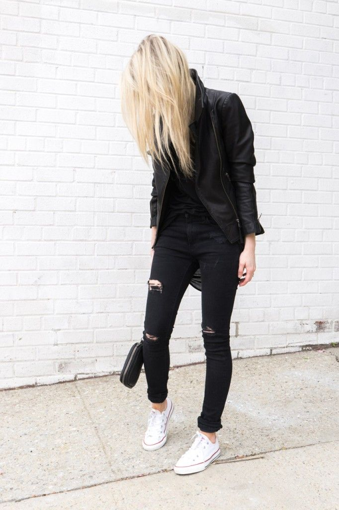 Michaela Babuskova | aritzia mackage kenya leather jacket black + zara ripped skinny jeans black + helmut lang threadbare tank black + alexander wang fumo clutch wallet black + converse all stars low tops white + olivier peoples benedict aviator sunglasses gold