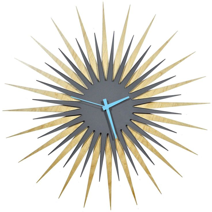Modern Crowd RF Atomic Wall Clock in Maple and Grey (