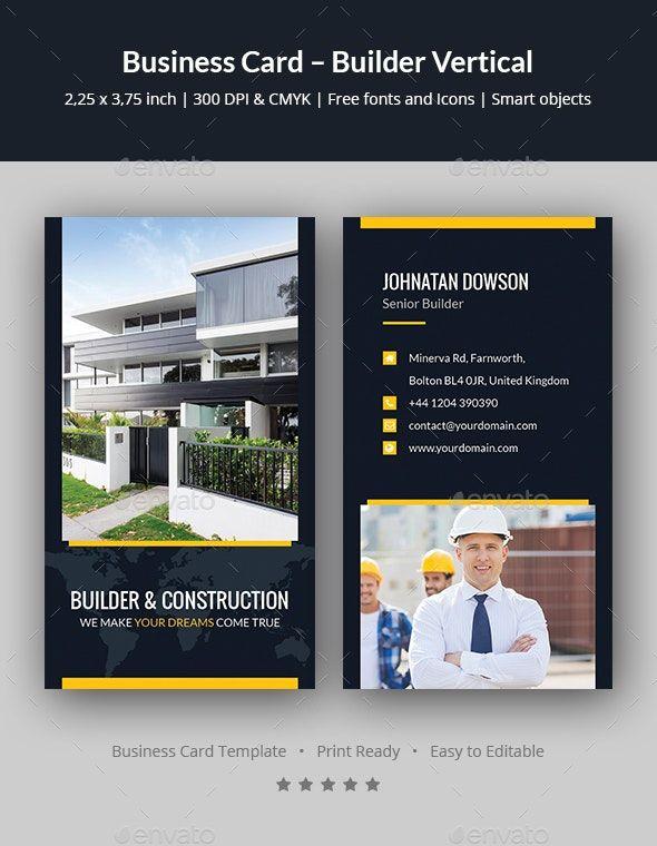 Business Card Builder Vertical Professional Business Card Design Vertical Business Cards Business Card Design Creative